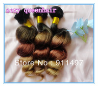 "New style New arrival Ombre color hair Loose wave #1b#33#27 100% Brazilian Remy hair weft 16""-28"" DHL Free shipping in stock"