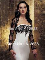 Hot Sale Wholesale Free Shipping Long Sleeve Bridal Jacket Black Lace Wedding Boleros Accessories