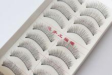 10 Pairs Hand made full strip Fake False Eyelashes Natural Long Look cotton stem 217 free shipping  Beauty Health Makeup Tools(China (Mainland))