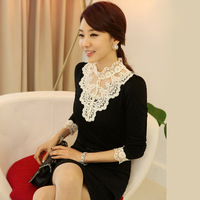 2014 autumn white beading lace stand collar basic shirt female long-sleeve t-shirt plus size top slim