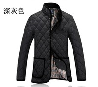 New winter fashion keep warm leisure men's cotton-padded jackets down coat outwear Hot sale Lattice Coat Overcoats