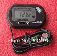 500pcs/lot Brand New Mini small  LCD Little Sensor Wired Aquarium Digital Thermometer Fish Tank