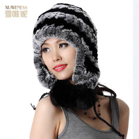 Winter fur hat female rex rabbit hat winter ear hair ball fashion women's rabbit fur hat