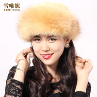 Fur hat autumn and winter thermal Women fur hat rex rabbit skin fox fur toe cap covering cap dome