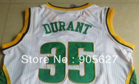 Supersonics retro basketball jersey Seattle Sonics Kevin Durant jersey #35 green yellow white  jersey The cheapest  jersey