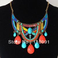 2013 New Exaggerated Fashion Big Choker Bib Chunky Bohemian Teardrop Multicolor Rhinestone Statement Necklaces Jewelry for women