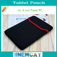 Free Shipping Protective sleeve bag 8 inch Tablet Pouch  Double-face Black & Red
