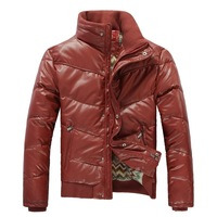 2013 men's clothing down coat winter thickening PU short design stand collar zipper men casual outerwear