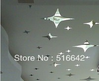 Crystal three-dimensional wall stickers mirror tv background wall ceiling mirror decoration stickers freeshiping