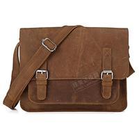 Quality fashion vintage crazy horse leather Medium 7089b male messenger bag