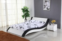 White Leather Bed with Genuine Leather, King size Soft Bed, Modern Design Bedroom Furniture B101