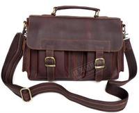 Fashion vintage leather handbag butter male computer messenger bag commercial 6037 briefcase