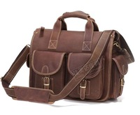 Cool genuine leather vintage Medium male commercial briefcase handbag shoulder bag 7106r