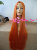 cosplay wig 100cm long orange straight Free shipping Cosplay wigs synthetic hair full lace wigs fashion party wigs  JFCP130