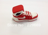 Free Shipping original design plastic novelty sneaker Sport Shoes usb flash drive 1-32GB pendrive memory stick Red+White