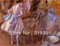 Oil Painting Reproduction on Linen Canvas,Two Dancers in Their Dressing Room by Edgar Degas,Free DHL Shipping,100%handmade