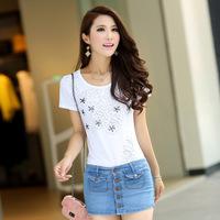 Free  shopping  Summer women's jeans double bag denim skirt pants 346 women's short denim skorts