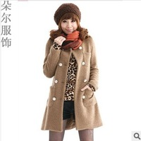2013 women's slim trench double breasted woolen overcoat wind coat Free shipping