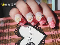 Rhinestone carved paillette french style false nail patch 24 set nail art nail tips