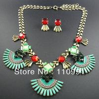 New Exaggerated  Fashion Choker Bib Classic Custom  Rhinestone Chunky Vintage Statement Necklaces Set Jewelry for women