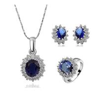 2014 newest Rhodium plating Silver Jewelry Set Wedding Love Oval Sapphire Stone CZ Zircon Ring Pendant N:45+5CM  R8#