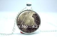 Galaxy Triangle Necklace, Hipster Nebula Jewelry, Geometric Star Pendant Glass Cabochon Necklace 1