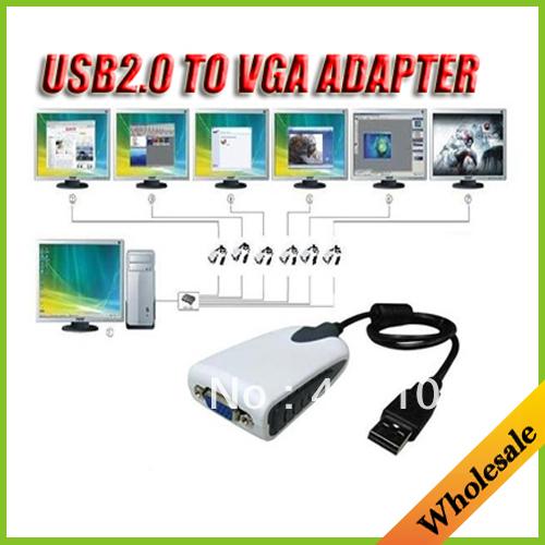 Wholesale USB2.0 to VGA (D-sub)Display Adapter External VGA video display adapter Monitor Graphics Card support Win7 Vista Linux(China (Mainland))