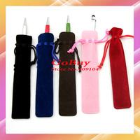 Wholesale 100pcs/lot velvet pen bag pen pouch pen case with rope for black/blue/red,coffee/pink color for choice