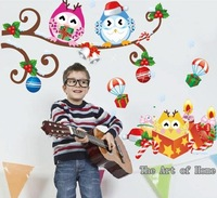2013 new DIY design owl Christmas gifts wall sticker for kids room decoration