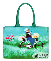 Kehr FL multi-colored meters cartoons bicycle balloon girl print canvas bag