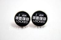 1pairs I Am Sherlocked Earrings in Black Glass cabochon earrings