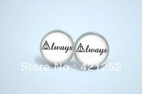 1pairs Harry Potter 'Always' Deathly Hallows Earrings in Silver Glass Glass cabochon earrings