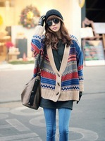 Free Shipping New Womens Bohemian Casual Oversized Knit Bat Sweater Knitwear Cardigan 2pcs/lot