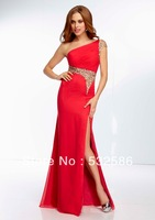 Free shipping One Shoulder Chiffon Gown with Beaded Sheer Midriff and Back  you fully deserve to enjoy it