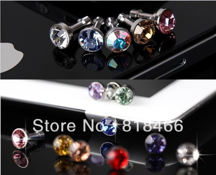 Wholesales Free Shipping 10pcs/lot diamond Earphone Headphone anti Dust Prevent plug 3.5MM dust Cap for Iphone Ipad Samsung HTC(China (Mainland))