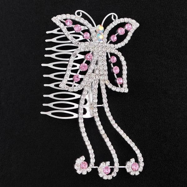 Butterfly Clip Pin Tiara Wedding Crown Flower Hair Comb Rhinestones Hairpin HR010 Pink(China (Mainland))
