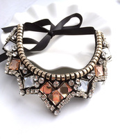 2013 high quality Korean new luxury exaggerated crystal gem mosaic Female Necklace false collar chain jewelry wholesale women