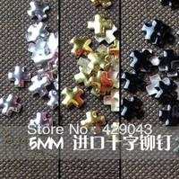 Free shipping  Cross X-shaped Nail Art Rivet metal nail art supply 3D Nail Decoration
