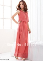 2013 New Women Bohenmia Pleated Wave Lace Strap Princess Chiffon Maxi long dress  Hot Sell FREE SHIPPING