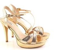 women fashion 2013m . geena open toe ultra high heels sandals gold banding bandage platform evening shoes