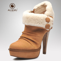Aumu autumn first layer of cowhide high-heeled shoes sexy platform thin heels women's shoes zipper single shoes 1900