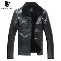 Men's clothing leather clothing leather wadded jacket plus velvet thickening epaulette medium-long male fur one piece coat plus