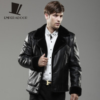 Men's clothing leather clothing leather wadded jacket luxury design short plus velvet thickening male fur one piece coat