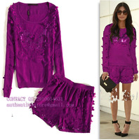 2013 pairs fashion new Women's paper-cut flowers  European leg knit shorts purple suit long-sleeve casual sports set