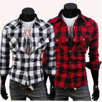 Free shipping large new men's plaid shirt men's cultivate one's morality leisure 100% cotton long sleeve shirt