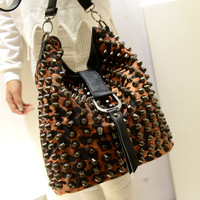 2013 women's handbag fashion punk rivet leopard print strap decoration cylinder shoulder bag messenger bag
