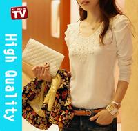 M L XL tops new 2014 autumn summer lace t shirt women casual dress long sleeve t shirts fashion t-shirts plus size blouse sale