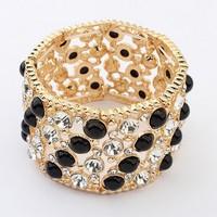 Free Shipping! New European Fashion Gold Tone Hollow Wide Black Crystal Resin Beads Ladies Bracelet Bangle Wholesale #100482
