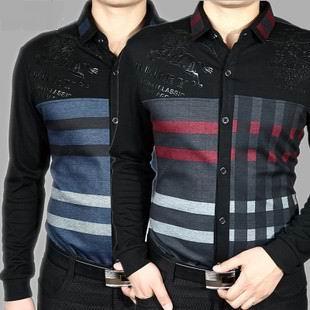 2014 nova Camisa Social grátis frete algodão cheio Dobby imprimir outono dos homens Septwolves Camisa roupas magro ocasional de manga comprida masculina(China (Mainland))