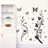 QZ173 Free Shipping 1Pcs Aestheticism Butterfly Flower Branch Leaf  For Living Room Decoration Removable PVC Wall Stickers